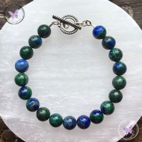 Chrysocolla Healing Bracelet with Silver Toggle Clasp